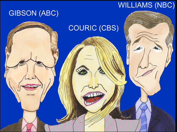The big 3 in evening news (Cartoon/Caricature by EJ)
