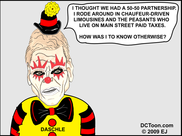 Daschle Clown (Political Cartoon by EJ)