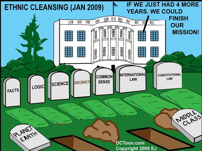 Ethnic Cleansing White House Jan 2009 (Political Cartoon by EJ)