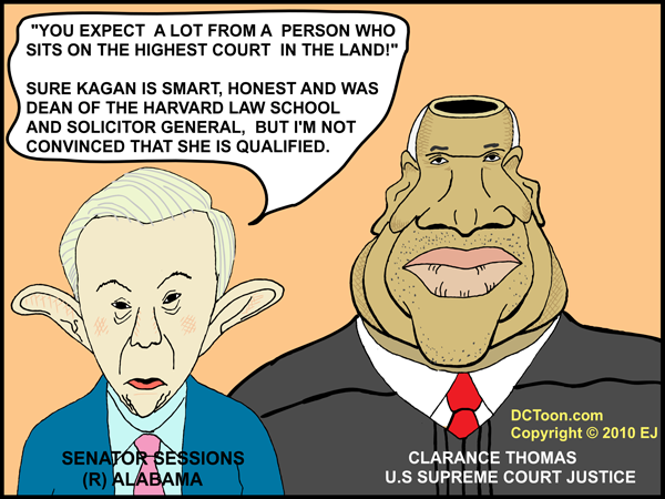 Sessions Questions Sotomayor's Qualifications as Justice Thomas Looks on - Cartoon by EJ