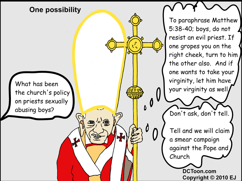What is the Pope thinking on child abuse? (Cartoon by EJ)