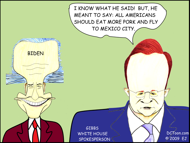 Biden and Gibbs (Swine Flu Poo Policiatical Cartoon by EJ)