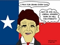 Texas Gov Perry Prays for Obama (Cartoon by EJ)