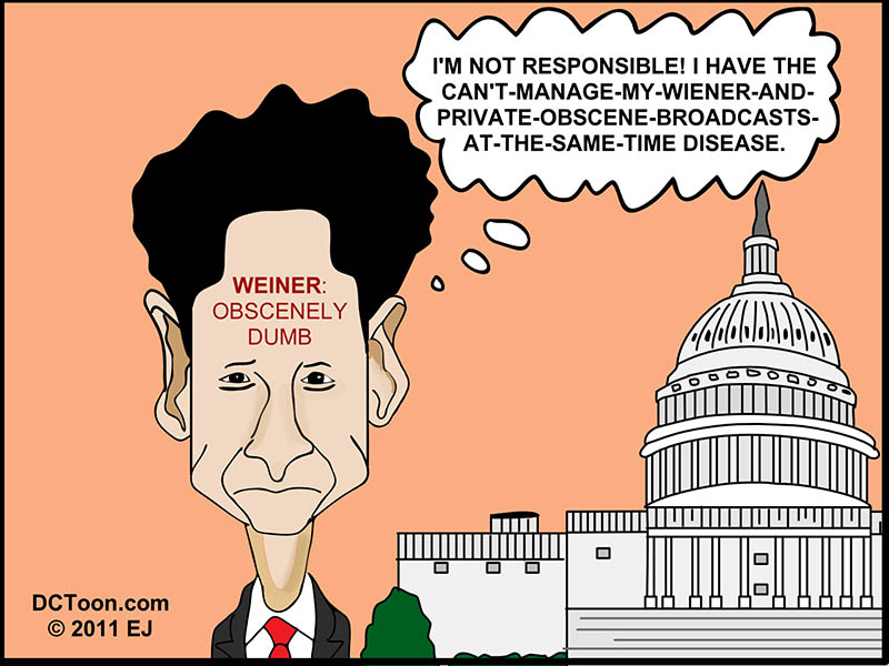 Scandal is Not Rep. Anthony Weiner's Fault (DCToon Cartoon by EJ)